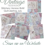 Vintage Teddies Stitchery Block Of The Month